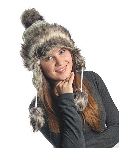 KayJayStyles Ear flap Furry Cable Knit Trooper Trapper Pom Pom Ski Snow Hat (White)