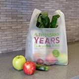Commit to Green Compostable T-Sack Shopping Bag, Style: 1000 Years, SUPER STRONG 1.0 MIL Thick, 500 Bags