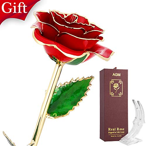 (AGM 24k Gold Rose, Real Rose Flower Dipped in Gold with Stand in Gift Box, Gift for Mother's Day, Valentine's Day, Wedding Day, Home Decor(Red))