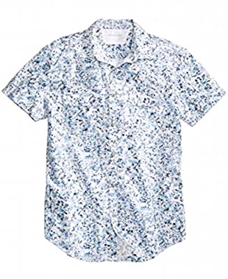 Calvin Klein Printed Mens Button Down Cotton Shirt