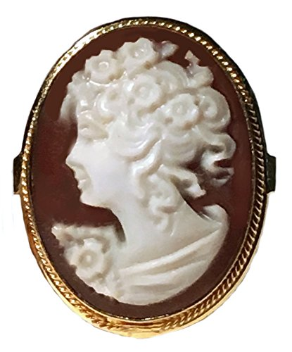Cameo Ring Master Carved, Princess Sardonyx Shell 925 Sterling Silver 18k Gold, Italian Size 7.5 Cameo Sterling Silver Setting