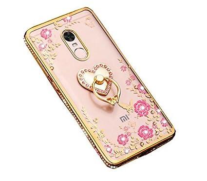 best website 33325 8eba3 Higar Xiaomi Redmi Note 4 Luxury 3D Ring Holder Stand Back Cover Grade Nano  Plated Clear Gel Soft TPU Anti-Scratch Smartphone Case for Girls - Golden