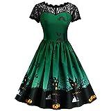 Pumpkin Print Womens Halloween Clearance Dress Retro Lace Short Sleeve Vintage A Line Swing Dress Charberry