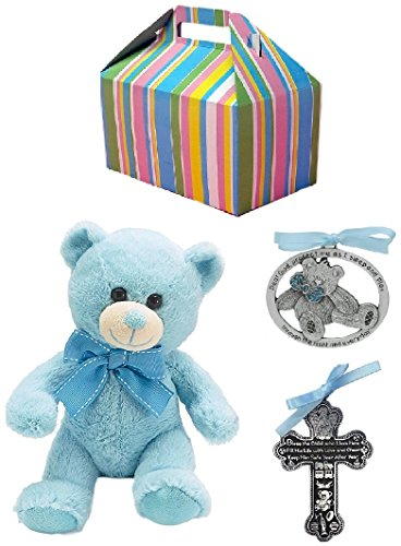Baby Boy Baptism Gift Set | Pewter Crib Cross, Crib Medal and Plush Teddy Bear