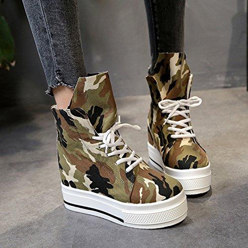 Cybling Comfort Dames Hightop Camo Canvas Platform Wedge Sneakers Met Verborgen Hoge Hakken Wandelschoenen Bruin