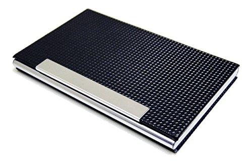 Business Name Card Holder PU Leather Magnetic Case Style N - Black (Wheels Pocket Bones)