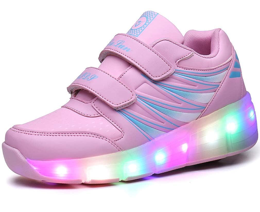 Chaussures à roulettes Chaussure avec Roue Baskets Enfants LED Chaussures Lumineuse À roulettes Garçons Filles Sneakers avec Roues 7 Colorés LED Chaussures Baskets