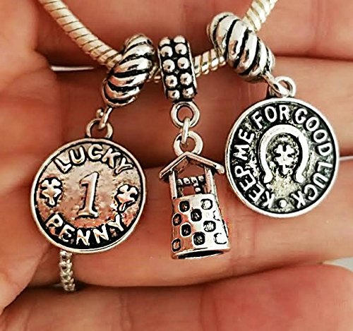 EWT 3pc Lucky penny, Wishing well, Good luck, Horseshoe, Lucky charm pendant set for all brand & European charm bracelet and any chain necklace (Jewelry Large Horseshoe)