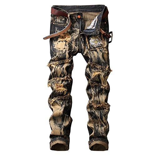 (Robin Santiago Men's Fashion Casual Straight Jeans Mens Torn Holes Vintage Embroidery Plus Size Denim Pants Yellow)
