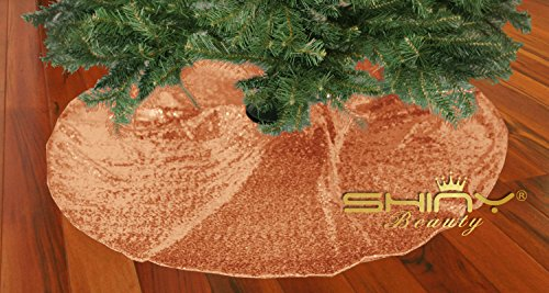 Embroidered and Sequined Holiday Rose Gold-Sequin Tree Skirt-24Inch Christmas Tree Skirt Polyester Christmas Tree Skirt Christmas Decorations - Embroidered Christmas Tree Skirt