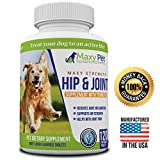Maxy Pet - Hip and Joint Supplement for Dogs with Turmeric for Joint Pain Relief. Support for Arthritis, Hip Dysplasia & Mobility loss in dogs. Glucosamine Chondroitin MSM CoQ10 Vitamin C. 120 /bottle
