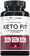 KETO FIT Exogenous Ketones Supplement: Perfect Keto Pills with BHB Salts, Grains of Paradise and Cayenne Pepper Extract for Ketosis and Caffeine Free Advanced Keto Weight Loss Diet, 60 Veggie Capsules