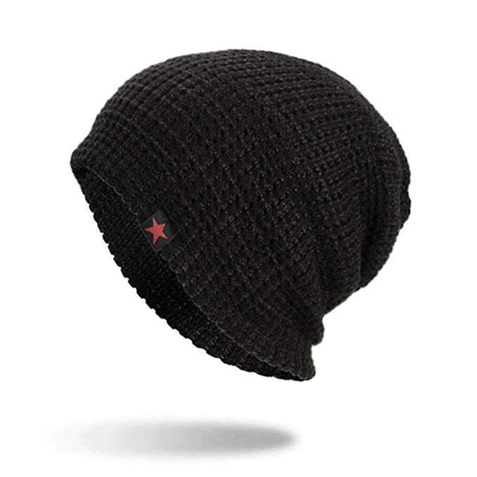 97f07ff352f CreateBeauty Classic Men s Warm Winter Hats Thick Knit Cuff Beanie Cap with  Lining (Black)