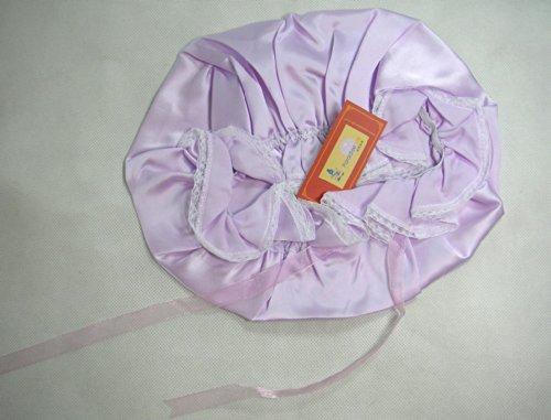 One Real Silk Slumber Cap Sleeping Hat W/ Lace LtPurple