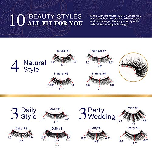Vassoul Magnetic Eyelashes and Magnetic Eyeliner Kit, 10 pairs Upgraded 3D Magnetic Eyelashes and Waterproof Magnetic Eyeliner Kit