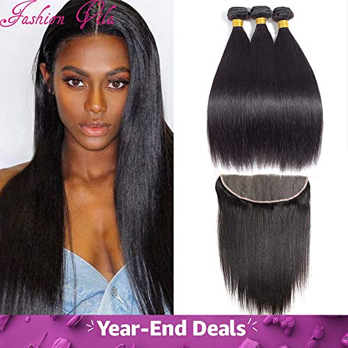 - 3 Bundles with Frontal Closure13x4 Ear to Ear Lace Extensions Unprocessed Human Hair Brazilian Straight Virgin Hair Weaves Natural Color (22 24 26with20, natural color)