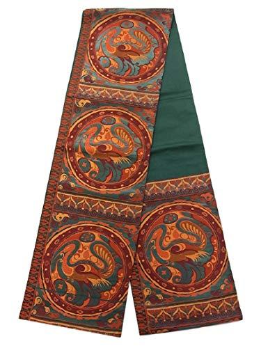険しい広がりジレンマリサイクル 袋帯 正絹 六通  孔雀と唐草 装飾文様