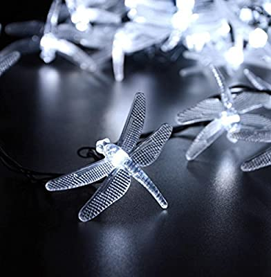 GoFurther Solar Powered LED String Lights Waterproof 16ft 20 LED Dragonfly Fairy Lights For Outdoor, Indoor, Gardens, Lawn, Patio, Christmas, Weddings, Parties