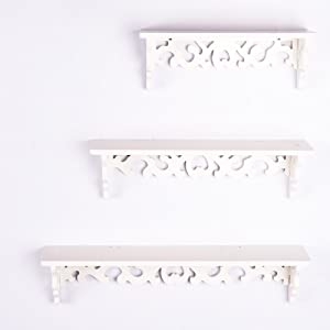 TOP-MAX 3PCS Floating Shelves White Wall Mounted Decorative Display Storage Shelf Shabby Chic Bookshelf for Home Living Room Shop
