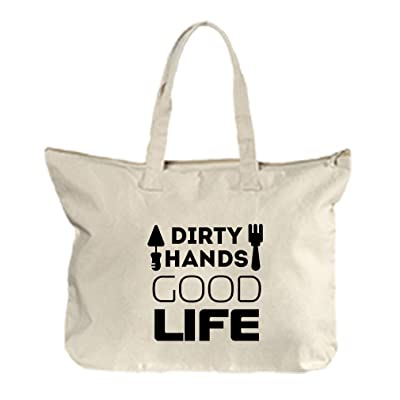 748d3bb86c Dirty Hands Good Life  1 Canvas Beach Zipper Tote Bag Tote free shipping