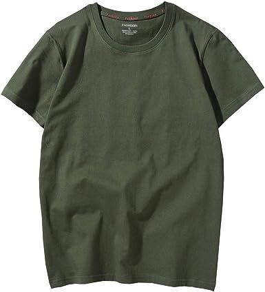 Eveliyning Hombres Adolescentes Verano Algodón Manga Corta Color sólido Camiseta Verde Oliva 18-24T (Color : Armygreen, Size : 2XL): Amazon.es: Ropa y accesorios