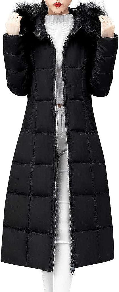 Manteau Chaud Doudoune Femme Long Veste Capuche Fourrure Faux Zipp/é Manches Longues Hiver Jacket Blouson Causal Marron Grande Taille