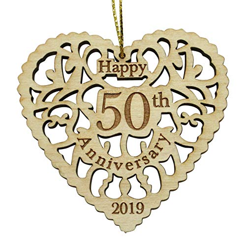 (Twisted Anchor Trading Co 50th Anniversary Ornament 2019 - Heart Shaped Happy Anniversary Ornament - 50th Beautiful Laser Cut Wood Detail - Comes in a Pretty Organza Gift Bag so it's Ready to give)