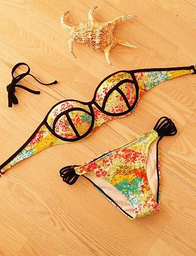 Damen Bikinis - Floral Push-Up Polyester Halfter , multi-color-s , multi-color-s