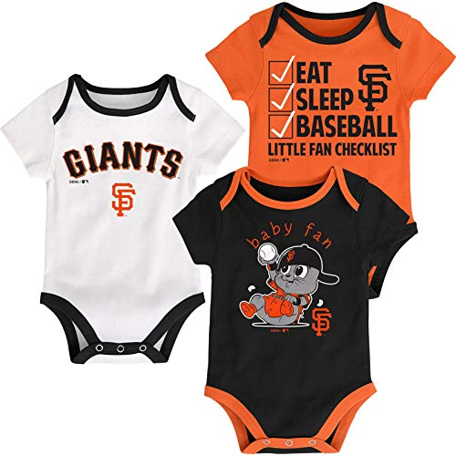 Outerstuff MLB Newborn Infants Play Ball 3 Piece Creeper Body Suit (12 Months, San Francisco Giants)