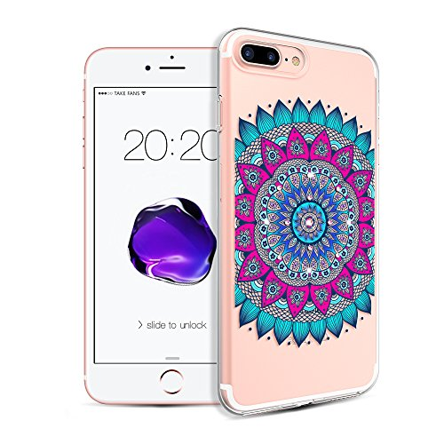 iPhone 8 Plus Case,iPhone 7 Plus Case,Kingxbar Crystals from SWAROVSKI Element Clear Design Printed Transparent Soft Flexible TPU Protective Back Phone Cover for Apple iPhone 8 Plus/7 Plus (Flower)