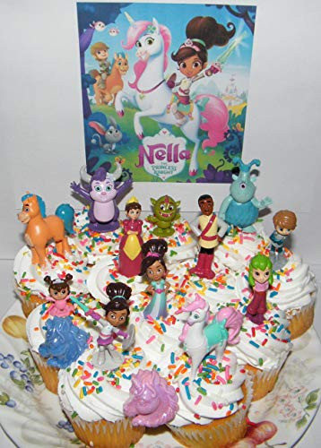 Nella the Princess Knight Deluxe Cake Toppers Cupcake Decorations Set of 14 with 12 Figures and 2 Unicorn ToyRings featuring Nella, Unicorn Trinket, Garret, 3 Dragons Etc.
