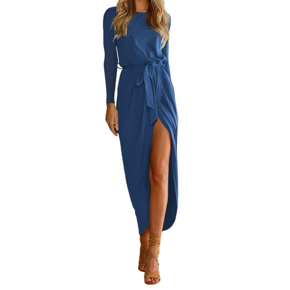 haoricu Women Dress, Women Summer Elegant Long Maxi Waistband Evening Party Beach Dresses (L, Blue)
