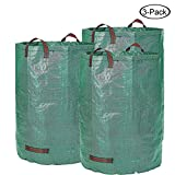 F.O.T 3-Pack 72 Gallons Garden Bag Yard Leaf Lawn Grass Waste Trash Container Garden Waste Bin, Collapsible Reusable, Robust Polypropylen fabric(Height 30'' Diameter 26'')