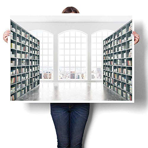 "SCOCICI1588 Hanging Painting Library Interior Design with Massive Bookshelves Concrete Floor and City View Painting,40"" W x 24"" L Ready to Hang for Home Decorations Wall Decor (Frameless)"