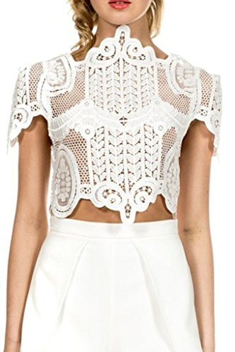 Simplee Apparel Women's Short Sleeve Mesh Floral Lace Crochet Crop Top, White, 10, X-Large ()