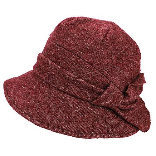 QCHOMEE Women's Autumn Winter Bow Basin Cap Winter Japan Casual Warm Knit Wool Beret Fisherman Hat Lightweight Fashion Bucket Cap