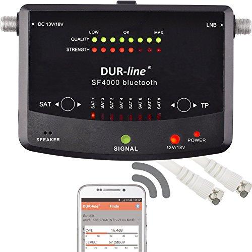 NEUHEIT! Digitaler Easy SatFinder SF 4000 BT mit 8 vor eingestellten Satelliten inkl. Smartphone Bluetooth-App für weitere Profi Anwendungen [SAT-Messgerät - DUR-line SF 4000 BT - Satfinder]