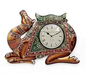 Vintage diseño de India marrón antiguo de madera reloj de reloj analógico (wd-02