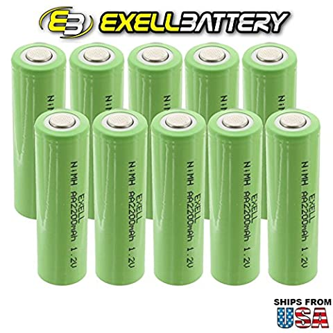 10x Exell 1.2V AA 2200mAh Rechargeable NIMH Flat Top Batteries for use with electric razors, toothbrushes, high power static applications (Telecoms, UPS and Smart grid), electric - 2,200 Mah Nimh Battery