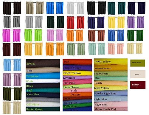 Solid Color Curtains, Cafe, Sky Light Blue, Mauve dusty pink