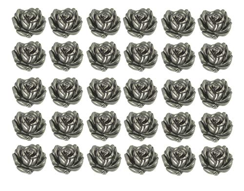 Bezelry 30 Pieces Small Rose Bloom Gray Silver Metal Shank Buttons. 12mm (1/2 inch)