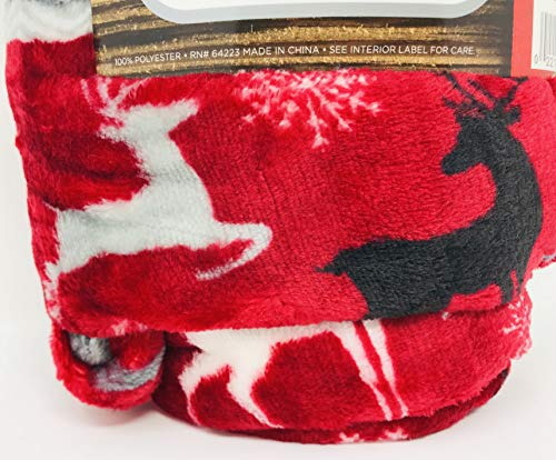 Morgan Throw - Plush Throw Luxurious | Cuddly | Soft Red with White Grey & Black Reindeer Velvet 50 inches x 60 inches | 100% Polyester