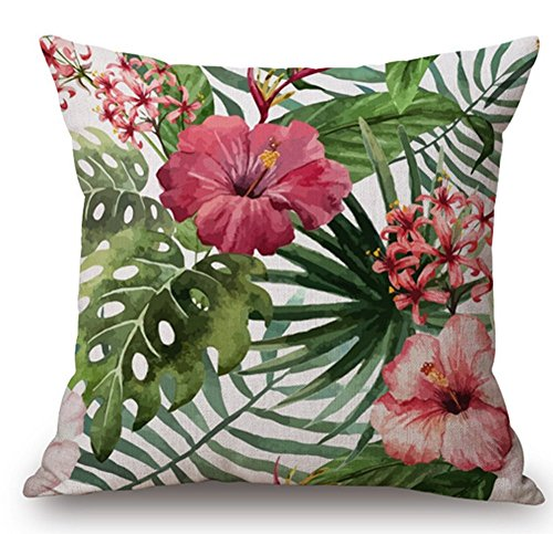 (Cotton Linen Square Decorative Throw Pillow Case Cushion Cover Hand-painted Tropical Flowers and Birds Foliage Plant Christmas Gift 18