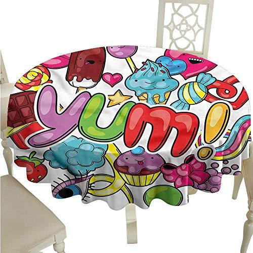 ScottDecor Picnic Cloth Kawaii,Popsicles Lollypops Candies Picnic Cloth Round Tablecloth D 50
