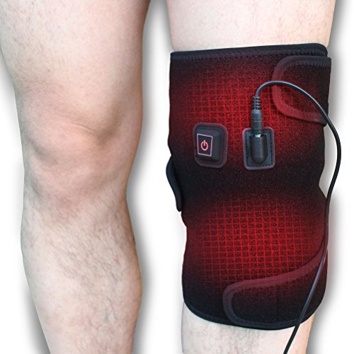 CREATRILL Heated Knee Brace Wrap, 3 Heat Settings, Heating Pad for Knee Injury, Cramps Arthritis Recovery, Heat Compress for Muscles Pain Relief Relax