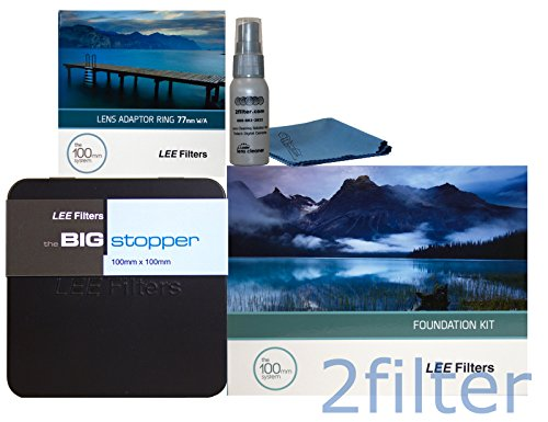 Lee Filters 77mm Big Stopper Kit - Lee Filters 4x4 Big Stopper (10-stop ND Filter), Lee Filters Foundation Kit and 77mm Wide Angle Ring with 2filter cleaning kit by Lee Filters
