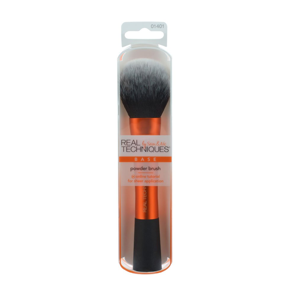 Real Techniques Cruelty Free Powder Brush With Ultra Plush Custom Cut Synthetic Bristles and Extended Aluminum Ferrules to Build Coverage