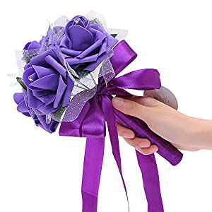 Bridal Flower Bouquets Artificial Rose Flowers with Crystals,Lace,Soft Ribbons Bridal Bouquets for Wedding Flower Decorations,Photography,Church or Party Decor 60