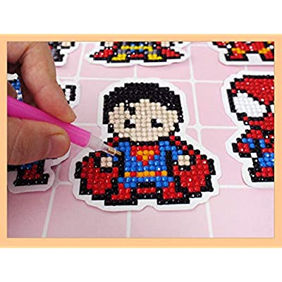 XUBX 5D DIY Diamond Painting Kits for Kids, Mosaic Sticker by Numbers Kits Arts and Crafts Set for Children (Hero): Toys & Games