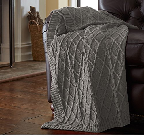 un 1pc 50x70 Oversized Steel Grey Throw Blanket, Gray Cable Knit Diamond Design Lattice Pattern Lightweight, Weaved Knitting Cotton, French Country Classic Large Knits Bordered